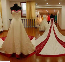 White and Red Cathedral Train Satin Wedding Dress Long Train Bridal Gown Real