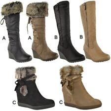 Womens Ladies Wedge Low Heel Winter Knee Boots Warm Faux Fur Fleece Size UK