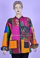 Vintage Kantha Gesteppt Damen Jacke Wendbar Patchwork Jacke Patola Sari Mantel