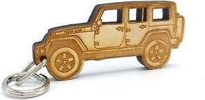 Wooden Engraved Keychain for Jeep Wrangler, Cherokee, Comanche MADE IN USA