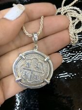"""ATOCHA Silver Coin Pendant  With Silver Rope  Chain 24"""""""