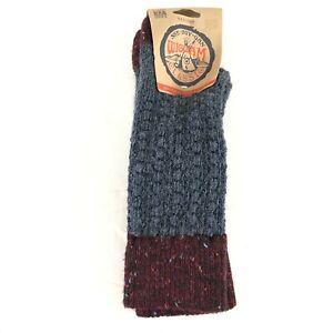 Wigwam Unisex Crew Socks Wool Blend Textured Gray Burgundy W 6-10 M 5-9.5