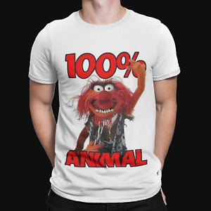 100% Animal T-Shirt -The Muppets  Mens Funny, Retro & Cool Drums Drummer Cartoon