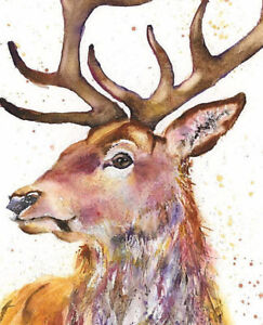 Fine Art Print of LISTENING STAG original watercolour by HELEN APRIL ROSE   565