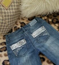 d6a587c1304 Bongo Jeans Stretch Denim Slim Embellished Sequine Back Pockets Women  Juniors 9