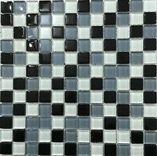 Grey White Black Glass Bathroom Border Kitchen Splash back Mosaic Tile Sheet