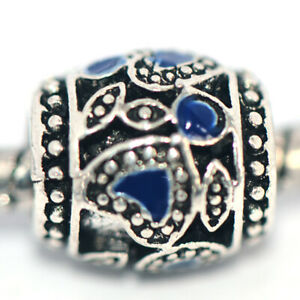 1X Heart Blue Bead Charm Silver Fit Eupropean Chain Bracelet Making Jewelry