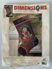 Vintage Christmas Stocking Cross Stitch Dimensions 8682 Gift Bearing Teddy