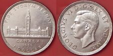 Almost Uncirculated 1939 Canada Parliament Silver 1 Dollar