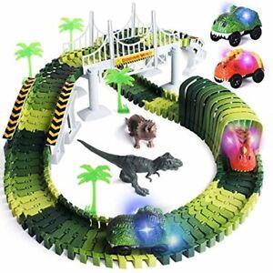 pistas carreras 2 coches de dinosaurio luz LED carretera bloques infantil