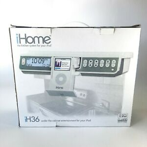 iHome White iH36 iPod FM Stereo Audio Speaker Dock Under Cabinet Kitchen System