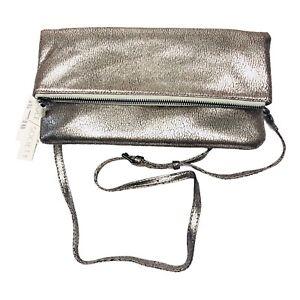 SOLE SOCIETY Women's Metallic Silver Crossbody Bag Convertible Handbag