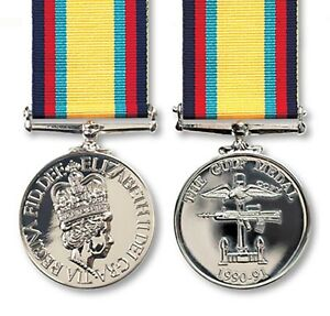 Official The Gulf Medal (1990-91) Miniature Medal + Ribbon - Iraq / Gulf War 1