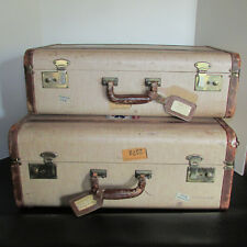 VTG Pair Matching Suitcases Travel Stickers, Hanging Rack, Tweed & Leather, Keys