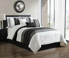 7 Pcs Oversized Luxury Bed in Bag Microfiber Comforter Set Black White ,Cal King