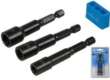 Silverline Magnetic Nut Socket Driver Set 6mm 8mm & 10mm For Impact Drill