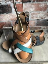 Clarks 100% Leather Sandals Shoes Tan White Aqua Green Size 5.5