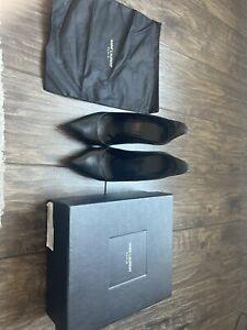 Genuine SAINT LAURENT Paris Sculpted Back Shoes EU Size 38 UK Size 5 Black