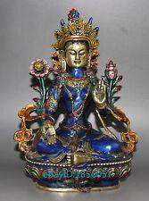 Tibet Buddhism Cloisonne Enamel Bronze Tara Guan Yin Buddha Statue