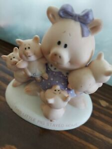 Pig Figurine Mama Pigs and Babies Ceramic-Porcelain Hand Painted Stay Home