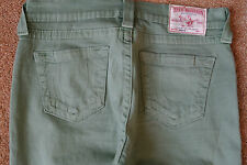 TRUE RELIGION BROOKLYN 28X26 Ankle Jeans NWOT$314 Shaded Green!Sexy Slim Stretch