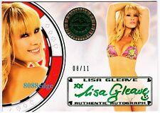 2012 BENCHWARMER VEGAS BABY AUTO:LISA GLEAVE #8/11 GREEN AUTOGRAPH AUSSIE HOTTIE