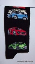 Campervans and Sports Cars on Black Mens/Womens Socks