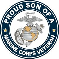 """Proud Son of a US Marine Veteran 3.8"""" Sticker / Decal 'Officially Licensed'"""