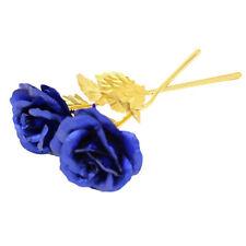24cm Handcraft Handmade Gold Foil Rose Flower Dipped Long Stem Lovers Gift Blue