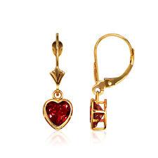 14K Solid Y Gold Bezel Set Garnet 7mm Heart Leverback Dangle Earrings
