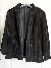 MINK Black Mustela Vison Real FUR coat Cadano Fur Size L Rare