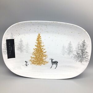Tahari Christmas MELAMINE Serving Platter Gold Silver Deer Snow Tree Holiday 15""