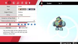 Ultra Shiny 6IV Adamant No Guard Golett Pokemon Sword/Shield + Master Ball