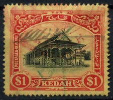 Malaysian State Kedah SG#11x $1 Black And Red/Yellow Wmk Reversed Used #D46186