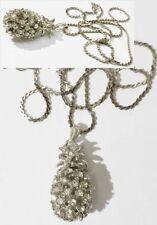 pendentif chaine bijou vintage ananas 3D cristaux diamant couleur argent * 4914
