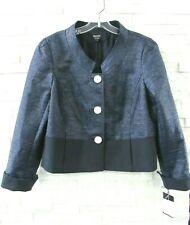 NWT Worth Navy Blue Shimmer Tweed & Stretch Wool Mandarin Collar Jacket 16