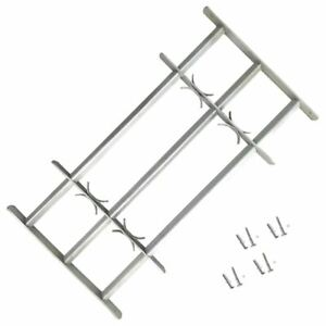 Extendable Security Grill For  Window With 3 Crossbars Galvanised Steel Grille
