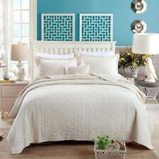 100% Cotton Coverlet / Bedspread Set King & Super King Size Bed 240x270cm Cream