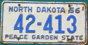 1956 North Dakota  PEACE GARDEN STATE  license plate  GAS OIL SIGN