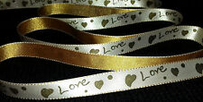 """2M 0.5"""" / 13mm LOVE HEART SATIN RIBBON FOR SAWING CRAFT DECORATION WEDDING FLOWE"""