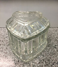 Beautiful Heart Shaped Heavy Clear Glass Candy Dish with Lid