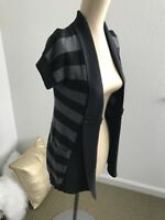 SO Womens Cardigan Sweater Open Front Black Gray Striped Knit Pockets Size S