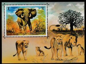 Elephant souvenir sheet mnh lions wild animals Africa