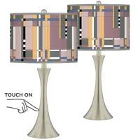 Simplicity Trish Brushed Nickel Touch Table Lamps Set of 2