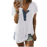 Plus Size Women Button Tunic Blouse V-Neck Short Sleeve Loose T Shirt Tops UK