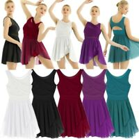 Women Girls Lyrical Dance Dress Contemporary Ballet Gymnastics Leotard Dancewear