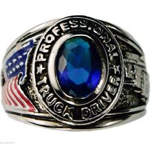 TRUCKER USA Mens Pinkie ring Ladies Blue Sapphire Platinum overlay size 7