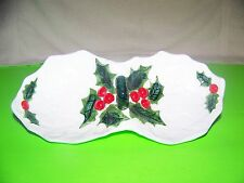 Lefton  Christmas  white holly divided dish with handle