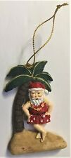 Hawaiian Christmas Ornament - Sant with Lei Under Palm Tree - Island Ornament