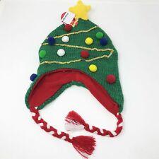 80c2b9c9b4d NEW Holiday Christmas Tree Boys Girls One Size Winter Beanie Earflaps  Braids Hat